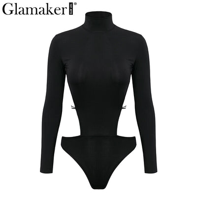 Glamaker Knitted lace up sexy black bodysuit Women jumpsuits rompers long sleeve bodysuit summer bodysuits one-piece overalls