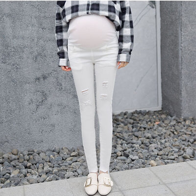 2017 spring new jeans pregnant women white thin section of pregnant women pants stretch belly maternity pregnant clothes