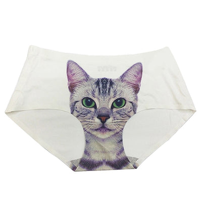 Hot Sale Sexy Pussycat Panties 3D Cat Print Underwear Clothes Funny Female Anti Emptied Women Briefs white/black