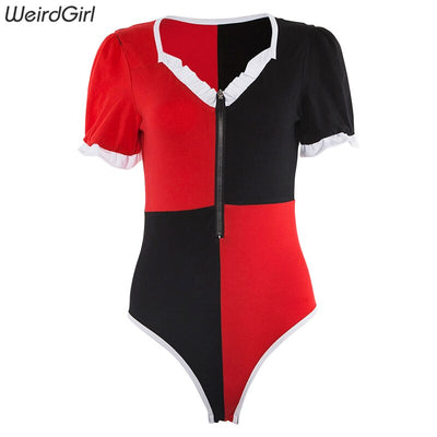 Weirdgirl women bodysuits skinny sexy party club patchwork v-neck short sleeve zippers elegant fashion  Romper Jumpsuit new 2019