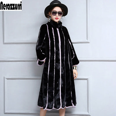 Nerazzurri 2018 New Women Faux Fur Coat Long Black and Purple Contrast Color Striped Patchwork Loose Overcoat Plus Size 5XL 6XL