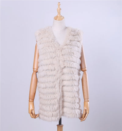 2018 New Women's Genuine Rabbit Fur Vest Hand Knitted Fur Gilet Lady Natural Fur Waistcoat Sleeveless Real Fur Coat Jacket