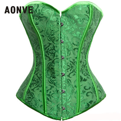 AONVE Corset Sexy Lingerie Brocade Royal Wedding Jarquard Corsets and Bustiers for Women Modeling Strap Sexy Green