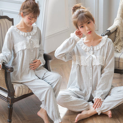 Sweet Cotton Patchwork Lace Maternity Nursing Sleepwear Sets Lovely Loose Pajamas Clothes for Pregnant Women Spring Pregnancy