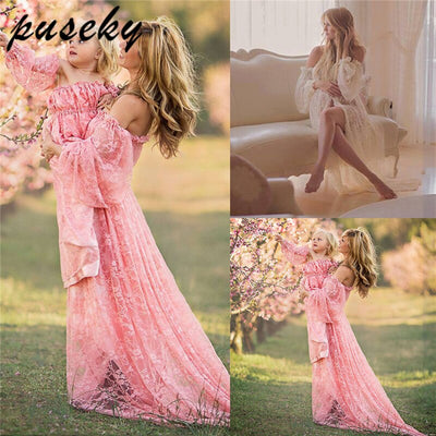 Puseky Stretchy Lace Maternity Dresses Ruffles High Split Front Maternity Photography Gown Slash Neck Maxi Pregnancy Dress