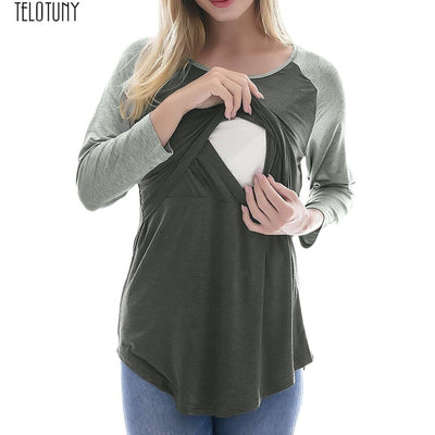 TELOTUNY Maternity Mama blouse top Tees pregnant lactation breastfeeding Embarazada gown top Tees Long Sleeve Shirts Z1219