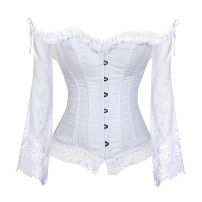Sapubonva Corset Tops for Women with Sleeves Vintage Style Victorian Retro Burlesque Lace Corset and Bustiers Vest Fashion White