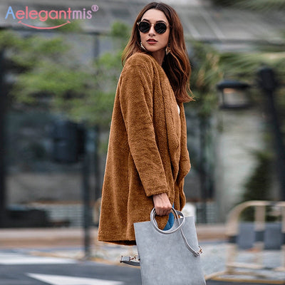 Aelegantmis Autumn Winter Cardigan Faux Fur Fluffy Coat Women Loose Long Furry Teddy Coat Ladies Solid Overcoat Casual Outerwear