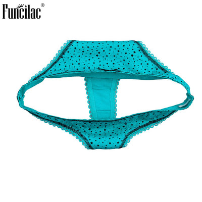 FUNCILAC Women Underwear Ladies Cotton Thongs G-string Panties T-back Dot Print Sexy G String Briefs Lingerie 1 piece