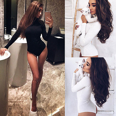 2018 Sexy Women Long Sleeve Bodycon Jumpsuit Knitted Stretch Bodysuit