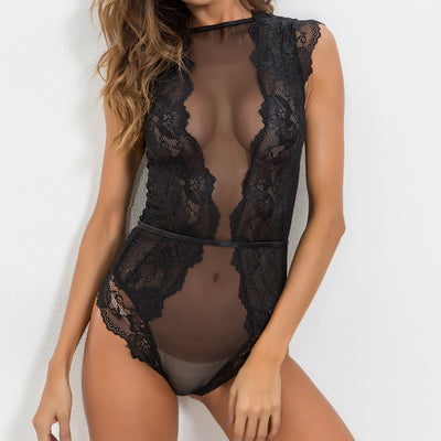 Women Bodysuit Hollow See-Through Solid Playsuit 2018 Summer Fashion Sexy Ladies Lace Patchwork Temptation Bodysuits