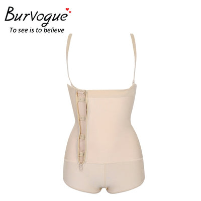 Burvogue Women Shaper Open Crotch Bodysuit Waist Trainer Control Underbust Underwear Shaper Butt Lifter Latex Zipper Body Shaper
