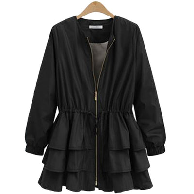 LANMREM 2018 New Summer Fashion Tide Black O-neck Long Sleeve Patchwork Cascading Ruffles Loose Big Size Woman Coat SA873