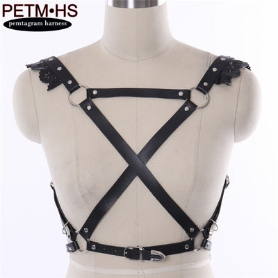 LEATHER BELT BDSM BONDAGE HARNESS of Women Fashion Sexy Lingerie Punk Goth Metal Chain bra Club Party Dance festival Rave Wear