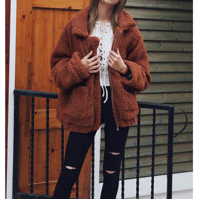 Casual Women Autumn Winter Warm Coat Solid Turn Down Collar Zipper Jacket Female Fashion 2018 New Pockets Outerwear Overcoat