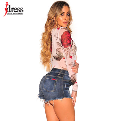 IDress Sexy Jumpsuit Clubwear Ladies Mesh Jumpsuit and Rompers O Neck Womens Floral Long Sleeve Romper One Piece Bodysuit Women