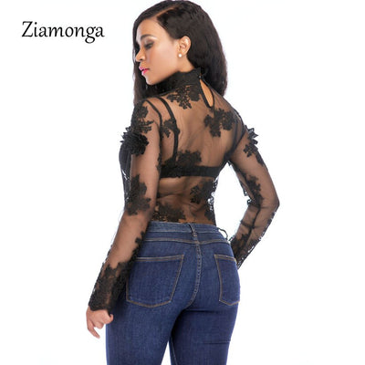 Ziamonga 2018 Women Sexy Bodysuit Jumpsuit Romper One Piece Black White Lace Bodycon Body Top Long Sleeve Playsuits Overalls