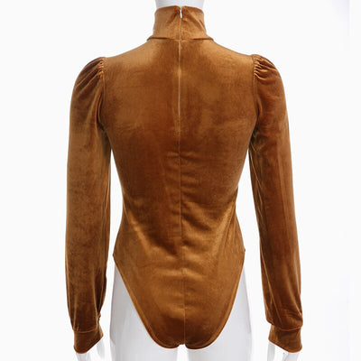 HEYounGIRL Velvet Puff Long Sleeve Bodysuit Women Turtleneck Bodycon Bodies Ladies Casual Elegant Solid Body Womens Autumn 2018