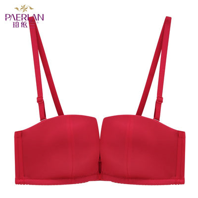 PAERLAN Half Cup 1/2 Cup Small chest Push Up Smooth Seamless Bra Memory Soft Underwire wedding dress Women Sexy underwear