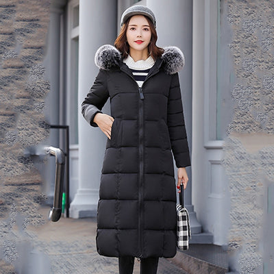High Quality Hooded With Fur Women Winter Jacket Womens Jackets Long Cotton Padded Warm Female Coat Long Coats Parka 2019