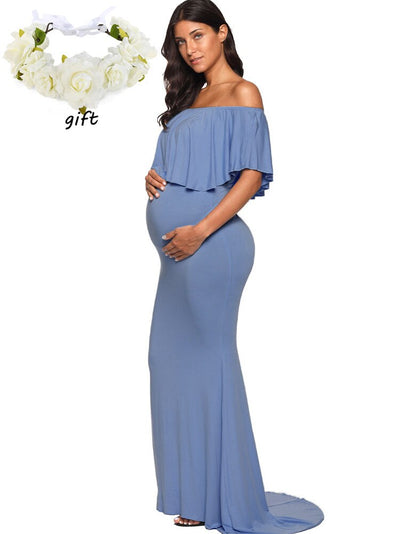Baby Shower Maxi Photography Props Maternity Clothes Pregnancy Dresses for Photo Shoot V neck Long Dress Long Sleeve Dress