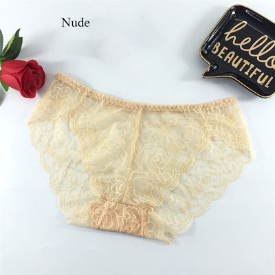 Women Sexy Cotton Crotch Seamless Lace Floral Panties Low waist Transparent Net Yarn Underwear Women Embroidery Panties