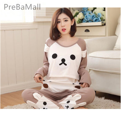 Cartoon Bear Maternity Nursing Pajamas Clothes Casual Sleepwear Set For Pregnant Women Long Sleeve Tops&Pants Nightgown B0461