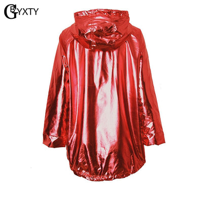GBYXTY jaquetas femininas Metallic Color Bomber Jacket Womens Outerwear Hooded Autumn Coat Femme Zip up Waterproof Jacket ZA386