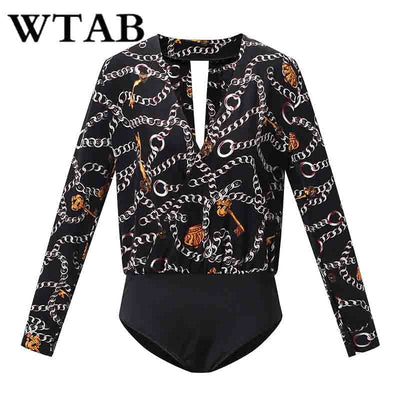 WTAB NEW 2019 casual spring summer bodysuit full fashion print v-neck women jumpsuit skinny backless rompers mujer playsuit