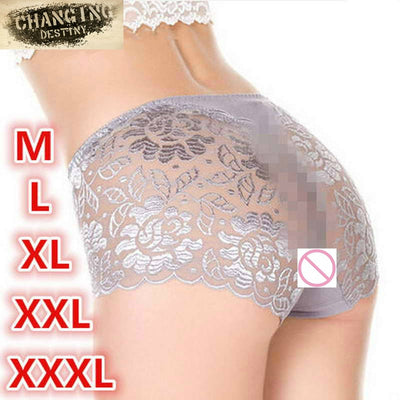 2017 Women XXXL Underwear Briefs Transparent Lace Middle-Waisted Seamless Large String Plus Size Female Sexy Triangle Panties