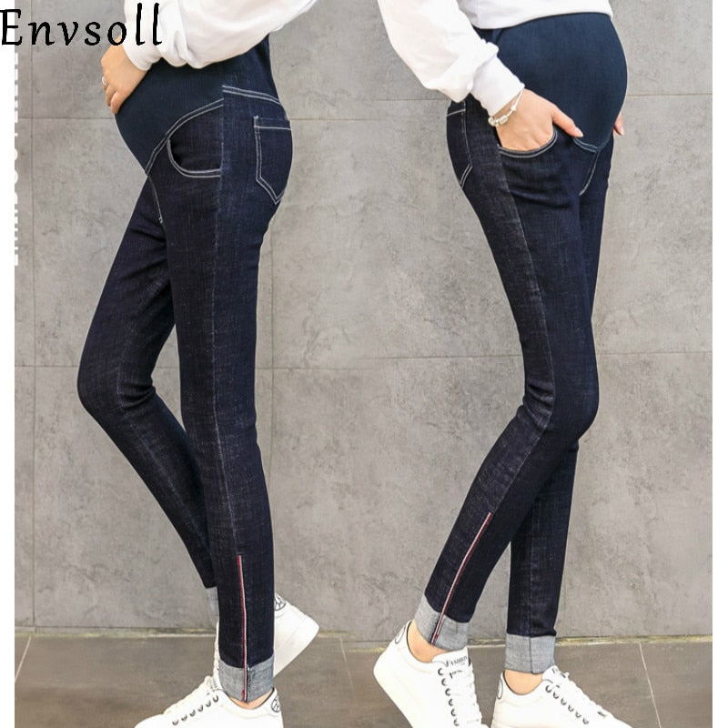 036c70aaba5fc Envsoll Spring Autumn Belly Skinny Maternity Jeans Cotton Adjustable Waist  Pencil Pregnancy Pants Clothes for Pregnant