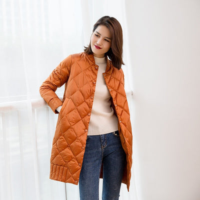 2018 Women Ultra Light Down Jackets Autumn Winter Thin White Duck Down Jacket Parka Female Solid Midi Long Outerwear Coat AB990