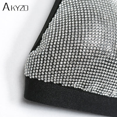 AKYZO fashion sexy silver rhinestone bra sets women summer beach hot drilling lingerie shining push up Bralette Lingerie Under