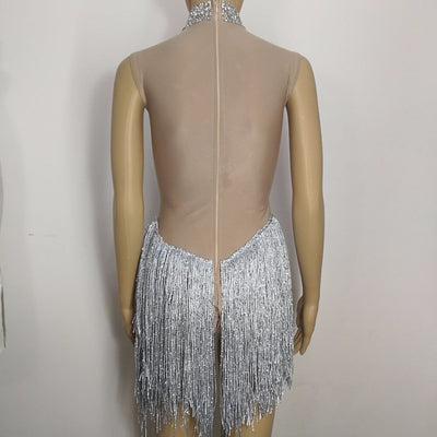 Shining Rhinestones Bodysuit Blue Tassels Leotard Jumpsuit Female Singer Star Party Birthday Celebration One Piece Stage Outfits