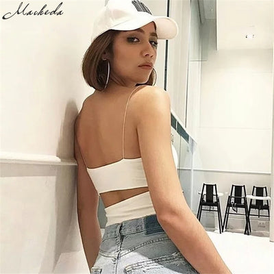 Macheda 2018 New  Casual Sleeveless Bodysuit Romper Women Sexy 3 Colors Camisole Overalls Streetwear Summer Women Jumpsuit