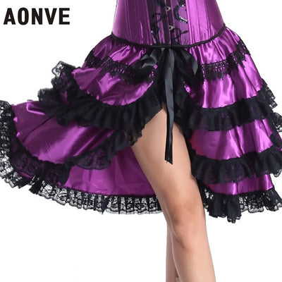 AONVE Steampunk Corset Dresses Sexy Corselet With Skirts Gothic Women Waist Trainer Lace up Wedding Clubwear Plus Size Corzzt