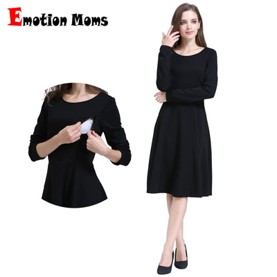 Emotion Moms Solid Long Sleeve Maternity Clothes Patchwork Nursing Breast feeding Dresses for Pregnant Women Long dress S M L XL