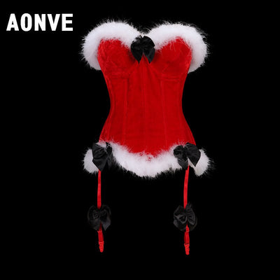 AONVE Corset sexy Waist tops cute and sexy Cute overbust bustier Red (thong Free) Xmas Christmas Black Friday Deals