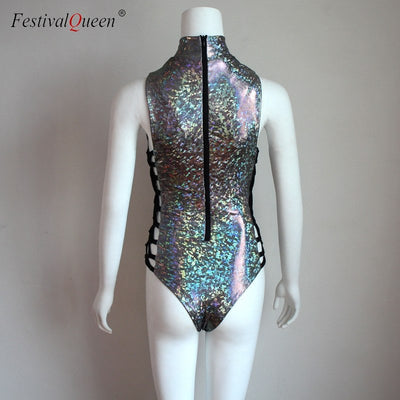 FestivalQueen Women Sexy Laser Holographic Bodysuit Rompers 2018 Fashion Female Musical Festival Rave Bodycon Lace Up Jumpsuit