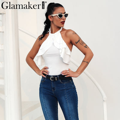Glamaker White ruffle halter sexy bodysuit Women backless bandage knitted bodycon bodysuit Female party fashion summer cami top