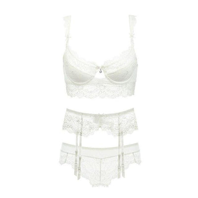 Varsbaby ultra-thin transparent sexy lace bra sets with garters for women A B C D Cup