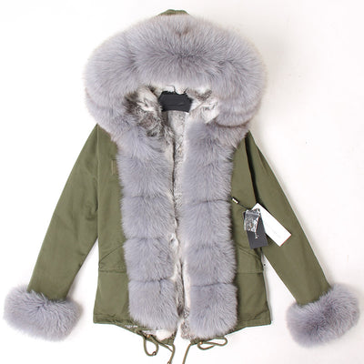 Maomaokong Women Short Parka Winter Long Jacket Parkas Real Fur Coat Natural fox Fur Hood Real Rabbit Fur Liner Outerwear