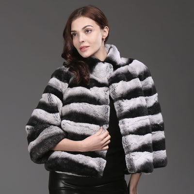 2017 Hot Sale Women High Quality 100% Genuine Rex Rabbit Fur Chinchilla Color Winter Jacke Real Natural Rex Rabbit Fur Coat