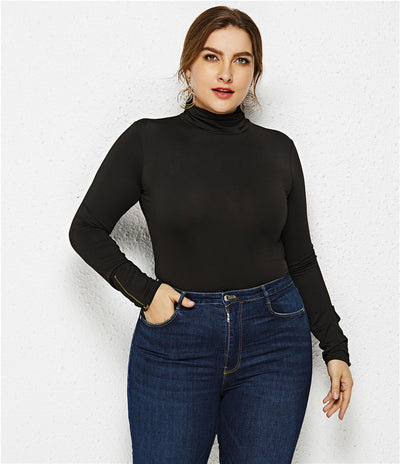 Plus Size XL-6XL Women O Neck Long Sleeve Solid Slim Bottoming Bodysuits 2019 Spring New Zippers Sheath Jumpsuits Big Clothing