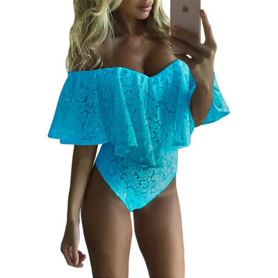 SEBOWEL Sexy Off Shoulder Floral Lace Bodysuit Strapless Ruffles Women Rompers Overalls Mesh Neck Playsuit Bodycon Jumpsuit body