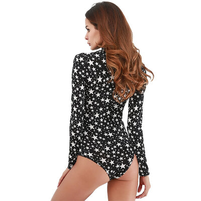 Fashion Star Pattern Bodysuit Women Full Sleeve Playsuit Jumper Bodycon Black Beach Jumpsuit Body Skinny Black Femme Clothing