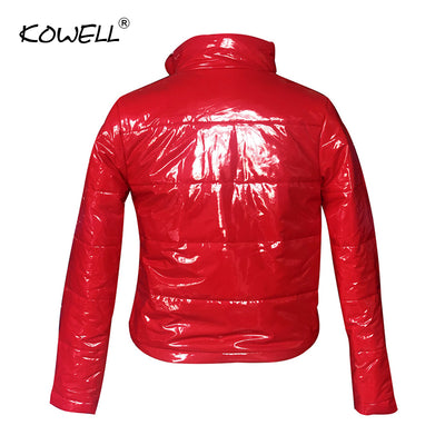 Hot Sale PU Leather Slim Winter Sexy Women Coats and Jackets Long Sleeve Stand Collar Thicker Jacket Women Casual Crop Top Women