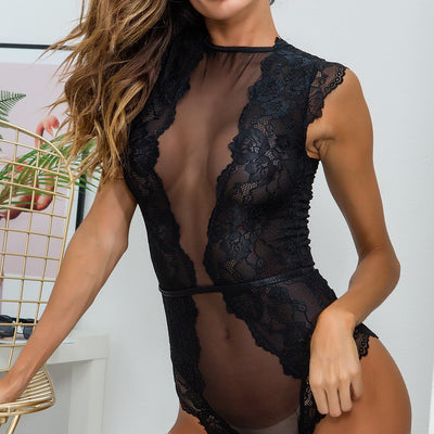 2018 Sexy Embroidery Perspective Lace Bodysuit Romper Women Jumpsuit Summer  Sleeveless femme Playsuit