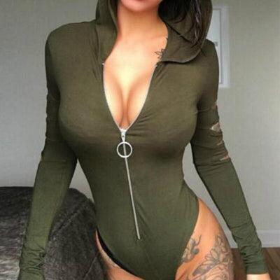 Women Bodysuits Hooded Sexy Skinny Bodycon Body Top Solid Rompers Long Sleeve Fashion Zipper Bodysuits Holes V-neck Club GV264