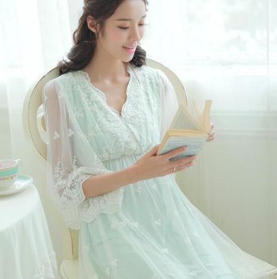 Fdfklak Sweet Lace Pajamas for Pregnant Women Spring Summer Dress Maternity Nightwear Nightgowns Female Pregnancy Clothes